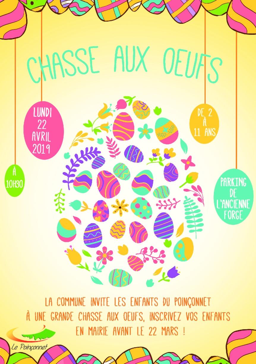 Chasse aux œufs, lundi 22 avril, inscrivez-vous!!!
